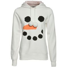 White Snowman Face Hoodie ($27) ❤ liked on Polyvore