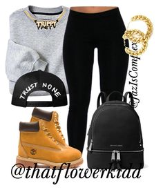 """""""How to style black leggings/timberlands"""" by jaziscomplex ❤ liked on Polyvore featuring Timberland, Melody Ehsani and MICHAEL Michael Kors"""