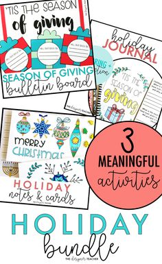 Teachers, snag three meaningful, low-prep activities for the holiday & Christmas season! Includes a bulletin board display, holiday cards & notes, and a coloring and reflection journal. #teaching #holidays