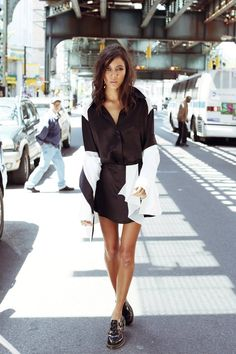 PENCEY. Cocktail Blazer in Ivory Combo Blouse in Black Drape Skirt in Black