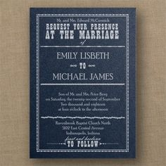 Red, White and Blue Wedding Ideas - Western Sensation - Classic Invitation - Navy Shimmer  | Occasions In Print (Invitation Link - http://occasionsinprint.carlsoncraft.com/Wedding/Wedding-Invitations/3214-MM1327031035-Western-Sensation--Classic-Invitation--Navy-Shimmer.pro)