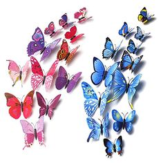 Mudder 3D Butterfly Stickers Wall Stickers for Home, Room Decoration, 24 Pieces (Blue, Rose Red)