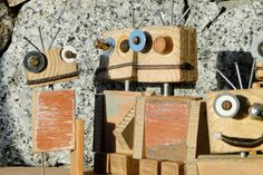 'Rescued' wooden Raw-bots by Jasper Eales #robot