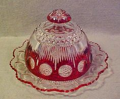 """US Glass Co. """"Manhattan"""" Ruby Stain Flash Butter Dish"""