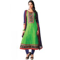 Stunning Green Cotton Indian #Churidar Kameez #SalwarKameez #Fashion #Dress #EthnicWear #AnarkaliSuit
