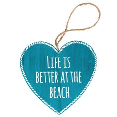 LIFE IS BETTER AT THE BEACH CHIC N SHABBY NAUTICAL HANGING BLUE HEART SIGN via Bluelake Interiors. Click on the image to see more!