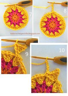 paso a paso sol crochet