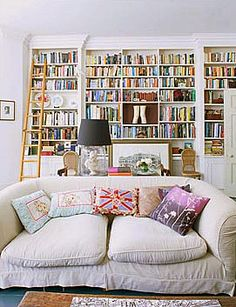 Colorful bookshelf, ladder, comfy white sofa.