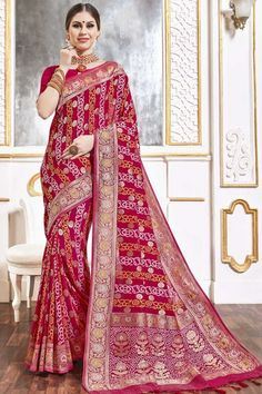 Pink viscose saree with pink viscose blouse. Embellished with woven zari work. Saree with Key Hole Neck, Elbow Sleeve. It comes with unstitch blouse, it can be stitched to 32 to 58 sizes. #weddingsaree #weddingwearsaree #festivalwear