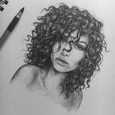 Novo Totalmente gratuito cabelo cacheado desenho Ideias, t. Unique Drawings, Cool Art Drawings, Pencil Art Drawings, Realistic Drawings, Art Drawings Sketches, Cool Artwork, Amazing Artwork, Beautiful Artwork, Portrait Sketches