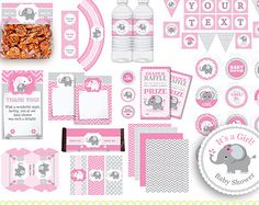 Elephant Baby Shower Invitation Pink Elephant by DianaMariaStudio