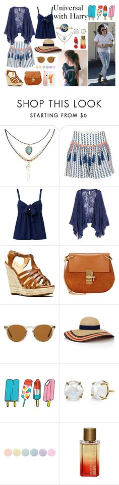 """""""Day at Universal w/ Harry"""" by absolutelyusd ❤ liked on Polyvore featuring Accessorize, Alphamoment, Kofta, Alexis Harrison, Chloé, Oliver Peoples, Eugenia Kim, Tattly, Irene Neuwirth and Deborah Lippmann"""