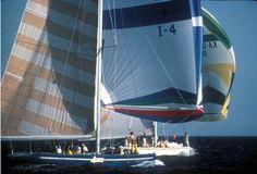 "12 metres ""Azzurra"" / ""Australia"" Newport America's Cup 1983 J Class Yacht, Sailboat Racing, America's Cup, Perth Australia, Cup Design, Yachts, Newport, Lighthouse, Sailing"
