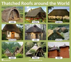 Here's a collection of thatched homes around the world. Thatch can have an extremely long lifespan on a building. A thatcher will leave the base coat of thatch on the house adding new fresh straw or reed. This practice goes back centuries, so much so that in Britain there are approximately 250 examples of original base coats that survive from the late medieval period (1350-1600).