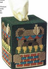 PLASTIC CANVAS ** PATTERN ONLY ** HARVEST BEAR TISSUE BOX COVER ~ SO CUTE ~ ~ ~