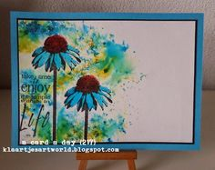 Klaartje's kaartjes en meer...: a card a day... (217) Watercolor Effects, Watercolor And Ink, Marianne Design, Small Art, Card Sketches, Sympathy Cards, Cool Cards, Flower Cards, Greeting Cards Handmade