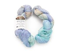 """We love La Luz Wind Surfer from Fiesta! The gorgeous blues, purples and greens in this 100% mulberry silk yarn make it the perfect summer yarn. It is irresistibly soft, ultra light weight and is now 35% off. Click the image for a closer look at this fantastic Fiesta yarn! Click """"Repin"""" if you love silk! #knitting #yarndeal #summerknittingproject    Click: http://www.craftsy.com/ext/20120626_Pin1"""