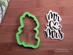 Mr. and Mrs. Cookie Cutter. Hand Lettered Cookie by KaleidaCuts