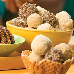 10 Clever Recipes for Girl Scout Cookies      Samoas Ice-Cream Truffles  For a sweet, bite-sized dessert, roll ice cream into small balls then coat in your favorite Girl Scout Cookie crumbs. Pile Samoa truffles, Do-Si-Dos Ice Cream Truffles, and Trefoils Ice-Cream Truffles into a bowl or waffle cone to resemble individual scoops of ice cream.