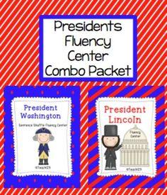 President Washington and President Lincoln Fluency Center  by www.http://teach123-school.blogspot.com/