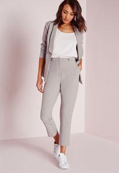 Missguided - Button Detail Suit Cigarette Pants Grey