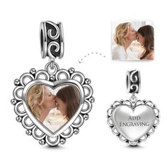 Paw Print Heart Personalized Photo Charm 925 Sterling Silver - Custom Photo Jewelry - Personalized