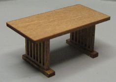 QS333 Mission Style Dining Table - $3.50 : Karen Cary's Miniatures, Quarter Scale Kits & Wicker Kits