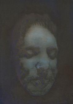 Mozart Death Mask, 62x45 cm, oil on linen, 2016 #Mozart #portrait #painting #death mask