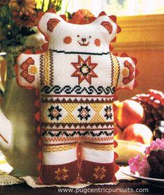 cross stitch teddy bears   Teddy bear cross stitch pattern folk art ethnic toy decor (830)