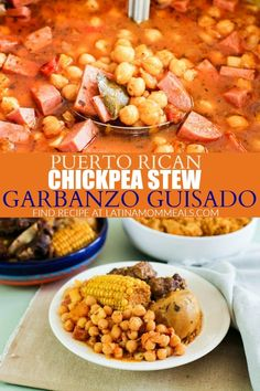 Garbanzo guisados is a Puerto Rican bean recipe that uses chickpeas to make a hearty stew recipe the family will love! Puerto Rican Cuisine, Puerto Rican Recipes, Cuban Recipes, Puerto Rican Beans, Garbanzo Bean Recipes, Chickpea Recipes, Spanish Chickpea Recipe, Low Carb Vegetarian Recipes, Lunch Recipes