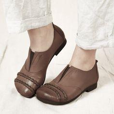 日系单鞋森林系娃娃鞋平底鞋超舒服单鞋手工真皮女鞋-淘宝网
