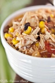 2 Bean Southwestern Chicken    Clean Eating Slow Cooker recipes  4-8oz boneless/ skinless chicken breasts into crockpot; add 1 (12 oz.) jar salsa +1-28 oz. can diced tomatoes in juice; layer 1-15 oz. can pinto beans, rinse/ drain +1-15 oz. can black beans, rinse/ drain; +1# froz./ thawed organic corn (avoids GMO corn). Cook low 5-7 hrs. until chicken falls apart when stirred. Looks yummy