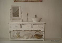 bathroom furniture and mirror for dollhouses by Martaminiatures,