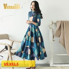 VERRAGEE Brand 2017 Autumn New Vintage A-line Printed Blue Dress Women Three Quarter Sleeve Contrast Color Maxi Dress