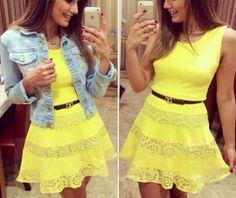 Lace stitching round neck sleeveless dress DF13104LK