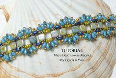 PDF Beading Tutorial, Beading Instructions, Seed Bead Pattern,Superduo Schemi,Bracelet Tutorial, SuperDuo Beads,2 Hole Beads,Jewelry Pattern - pinned by pin4etsy.com