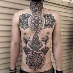 Geometric Tattoo by Michael Bennett. #inked #inkedmag #tattoo #ink #stomach #geometric #shapes