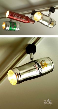 "Track lighting made from beer cans. So cool for a ""man cave"" or game room."