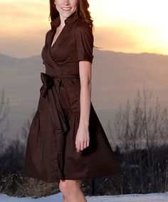 Take a look at this Shabby Apple Brown Martha's Vineyard Wrap Dress on zulily today!
