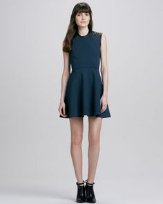 Leather-Shoulder Sleeveless Dress by Cut25 at Neiman Marcus.