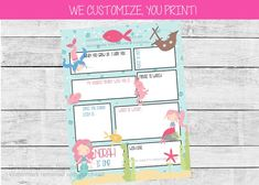 Mermaid first birthday time capsule printable - capture fun memories for your little one to cherish forever! We customize the name, age and questions for you. All you have to do is print! #firstbirthdaytimecapsule #girlfirstbirthdayideas #girlfirstbirthdayparty #mermaidbirthdayparty #undertheseafirstbirthday #undertheseabirthday #mermaidbirthdaytheme