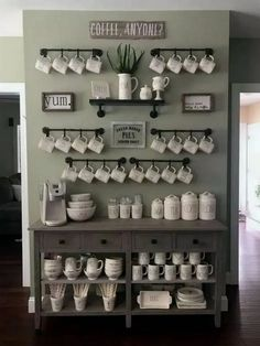 Best Home Coffee Bar Ideas for All Coffee Lovers Are you looking for inspiration to design coffee bar? Check out our best collection of DIY coffee bar ideas for your home that will brighten your morning. Coffee Nook, Coffee Bar Home, Home Coffee Stations, Coffee Corner, Coffee Mug Display, Beverage Stations, Drink Coffee, Coffee Tables, Coffee Bar Design