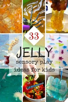 Jelly is an awesome medium for sensory play for even tiny toddlers because it's edible! No fear if they will put it in their mouth!