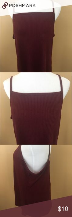 """Rue 21 + Burgundy Ribbed Cami Plus Size 2X Up for auction is this square neckline Rue 21+ tank top. Size 2X polyester cotton, burgundy ribbed, super soft material. Great for summer layering super lightweight!   Good condition, minor signs of wear!  Armpit to Armpit- 21""""  Shoulder to Hem- 26"""" Rue 21 Tops Camisoles"""