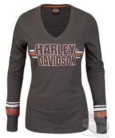 Harley Davidson Womens Intense Fascination V Neck Charcoal Long Sleeve T Shirt | eBay