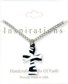 Black And White Cross Necklace