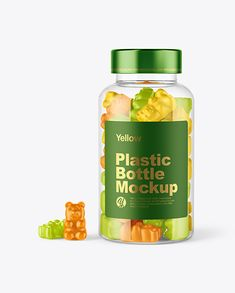 Plastic Bottle with Gummies Mockup. Present your design on this mockup. Simple to change the color of different parts and add your design. Includes special layers and smart objects for your creative works. #bears #bottle #candies #candy #fruit #gummies #gummy #hemp #jelly #kids #mockup #nutrition #pack #package #plastic #screwcap #supplement #supplements #sweets #transparent