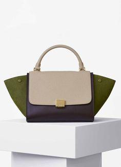 Small Trapeze Bag in Multicolour Bullhide and Grained Nubuck - Céline