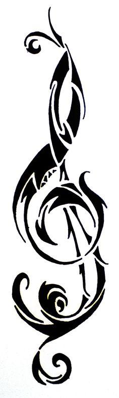 Treble Clef Tribal Tattoo Desgin by HamyDsArt.deviantart.com on @deviantART #MusicTattooIdeas