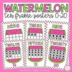 These watermelon themed ten frame posters are very colorful and look great on the wall! Includes numbers 0-20. Apple Ten Frames Watermelon Main Idea Booklets Word Wall Letters...